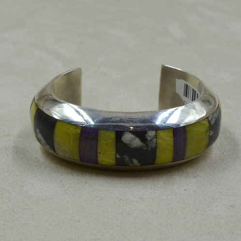 SS Channel Inlay w/ Serpentine, Japanese Writing Stone Cuff by Vincent Gioielli