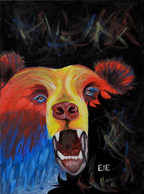 """""""Bear Through It"""" Acrylic on Canvas - 16"""" x 12"""" - by Elle Claw"""