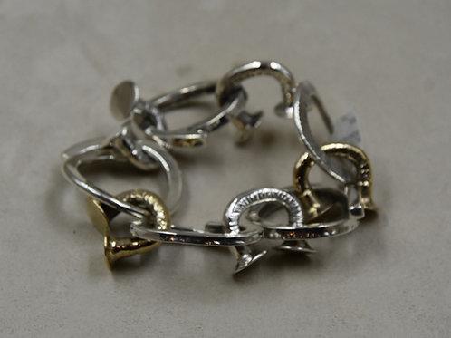 Bronze Links and Nailhead Links Bracelet by Melanie DeLuca