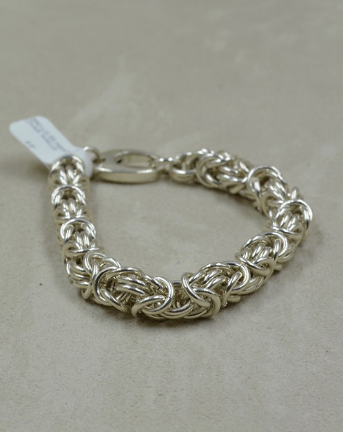 Large Handmade Sterling Silver Shiny Chainmaille Bracelet by Tom Schaefer