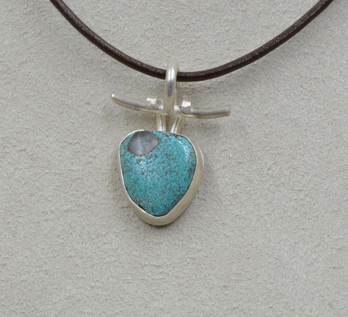 Natural 8 Turquoise W Quartz Inclusion S Silver Pendant By Joe Glover