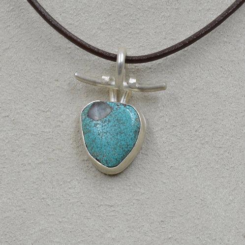Natural #8 Turquoise w/ Quartz Inclusion S. Silver Pendant by Joe Glover