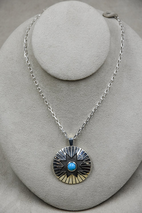 Sunburst Sleeping Beauty Turquoise Necklace by John Paul Rangel