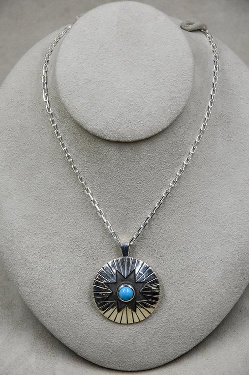 Sunburst Sleeping Beauty Turquoise Necklace by John Paul Rangel