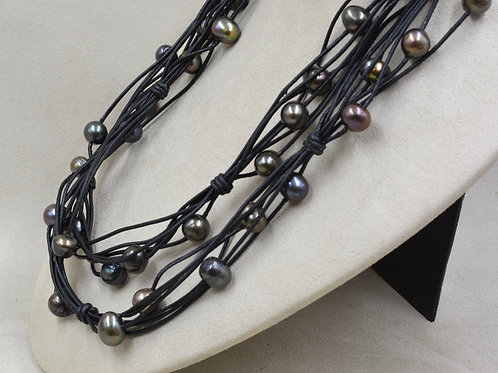 Cultured Freshwater Pearls on Leather Necklace by US Pearl Co.