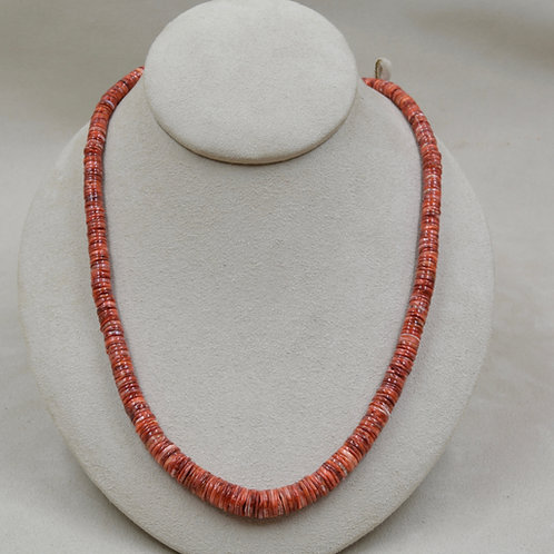 Red Hi Grade Spiny Oyster Heishi w/ 8mm S.S. Beads Necklace by Maggie Moser