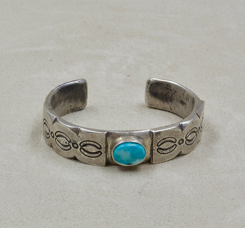S. Silver Ingo XSmall Stamped w/ Blue Moon Turquoise Cuff by Red Rabbit Trading