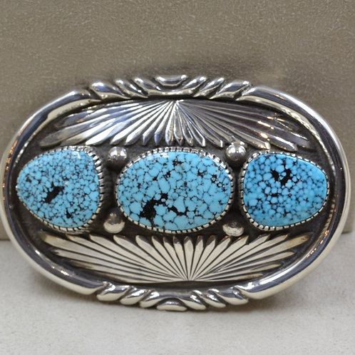 Leekya Style Buckle, SS/Overlay w/ Old Nat. Kingman Turquoise by Eugene Crawford