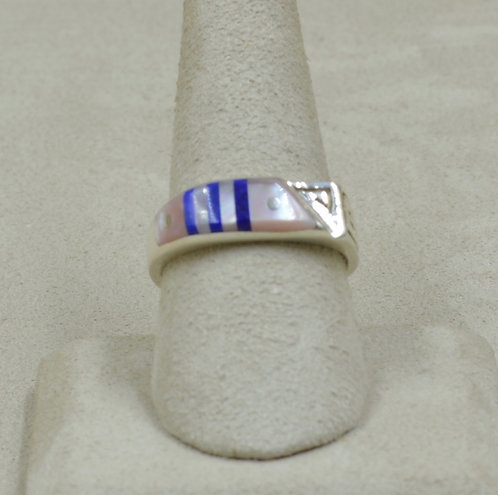 Superman Pink Shell, Lapis, & Sterling Silver 9x Ring by Veronica Benally