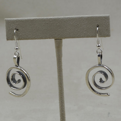 Sterling Silver Forged Spiral Earrings by Richard Lindsay
