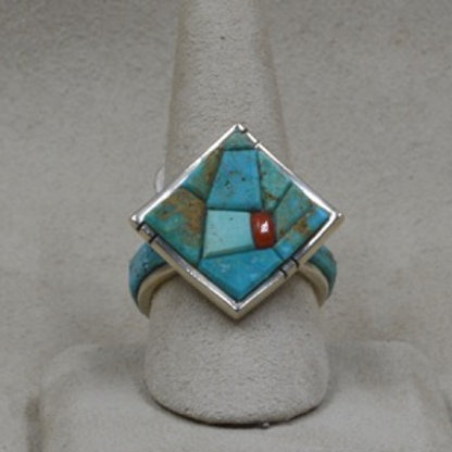 Square Inlay Crippled Creek Turquoise and Coral Ring 9.5X by Dukepoo