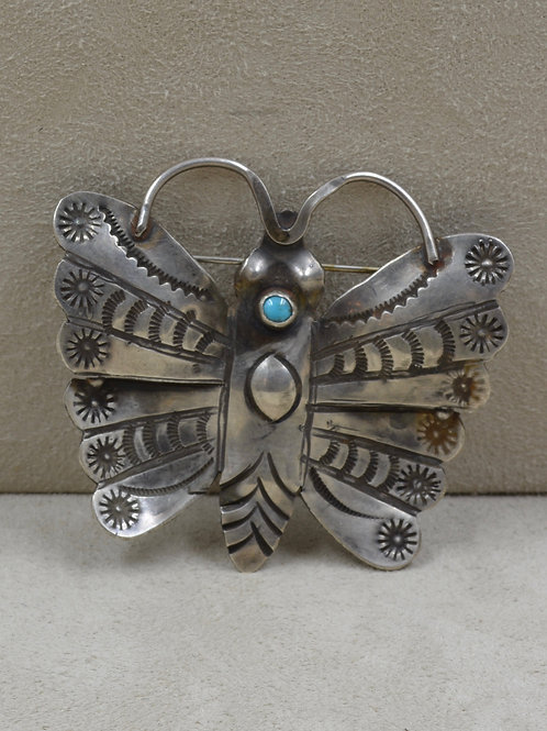 Vintage Fred Harvey Era Sterling Silver & Turquoise Medium Butterfly Pin