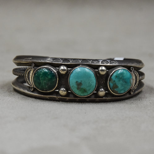 Vintage 3-Stone Turquoise, Tri-Shank Cuff from the Dean Stockwell Collection