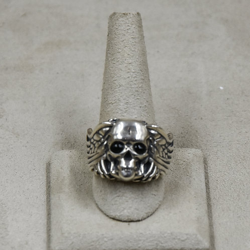 Sterling Silver Skull Ring with Onyx Eyes 11x by John Rippel