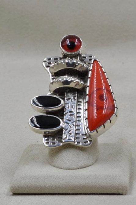 Modernist Red Eye, Slag Glass & Onyx 7x Ring by Melanie DeLuca