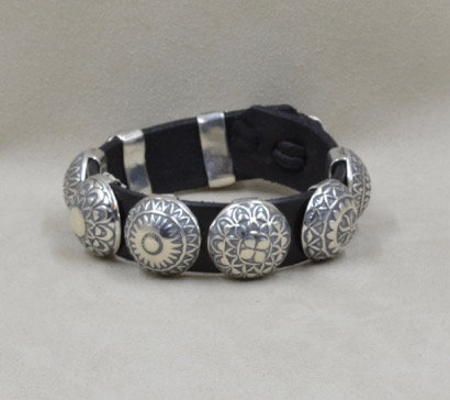 Sterling Silver 8-Concho Bracelet by Rick Montano