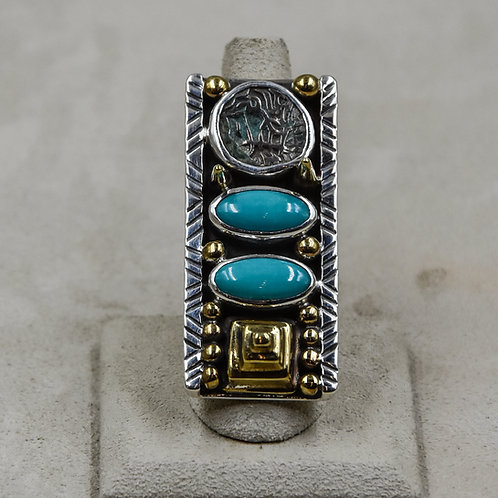 Turquoise, Gold Weight Afghan Coin 9x Ring by Melanie DeLuca
