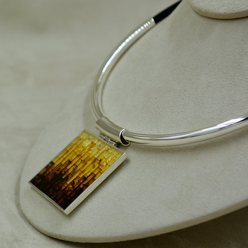 Amber Mosaic & Sterling Silver Large Square Pendant by MTM Silver