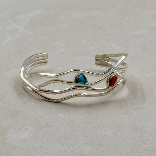 Sterling Silver Flat Wire Branch w/ Coral & Kingman Turquoise Cuff by Tim Busch