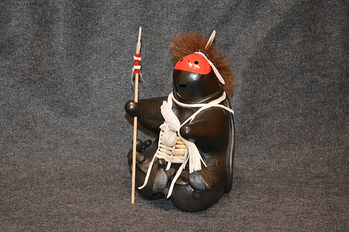Black Turtle Warrior with Red Mask Sculpture by Randy Chitto