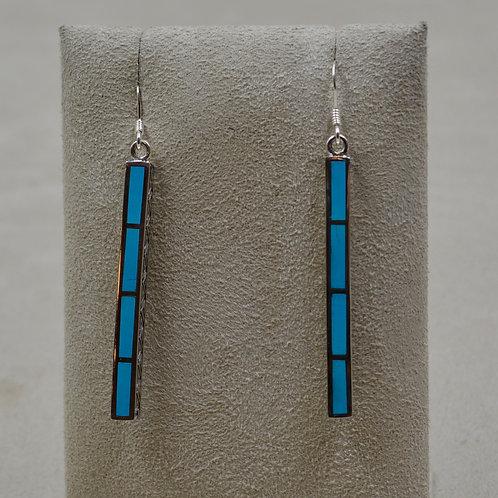 Sleeping Beauty Turquoise & S. Silver Medium Dancing Stick Earrings by Lente