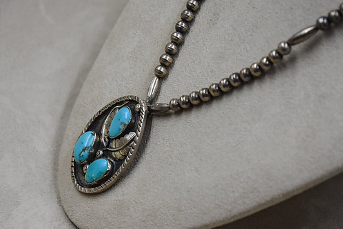 Vintage Natural Turquoise Pendant on Sterling Silver Bench Beads