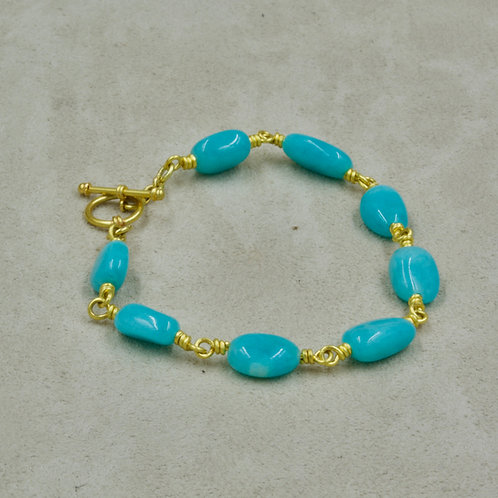 "22k Gold & Amazonite Bracelet up to 6 3/4"" Wrist by Pamela Farland"