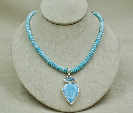 Larimar, Large Rondelles, Sterling Silver Necklace by Sanchi & Filia