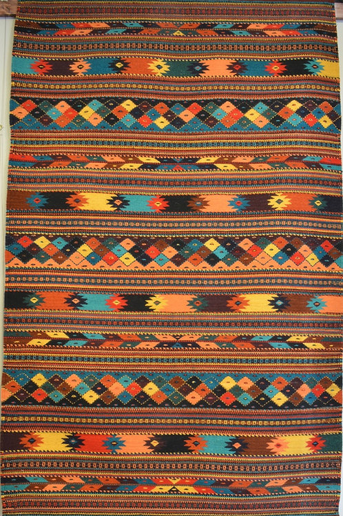 "Fino Fully Embroidered Zapotec Weaving - 78"" X 50"""