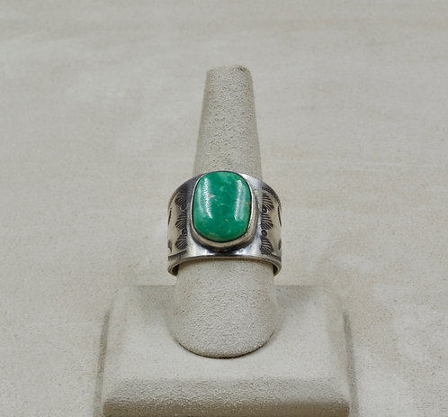 S. Silver & Broken Arrow Turquoise Stamped 12x Ring by Red Rabbit Trading