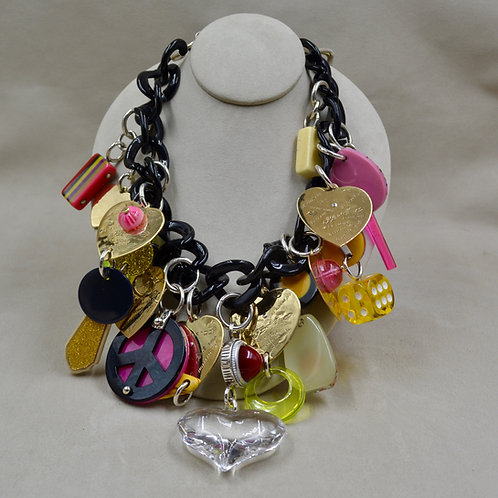 Acrylic, Brass Heart, Plastic Charms Necklace by Melanie DeLuca