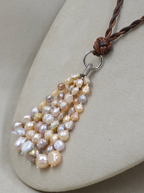 Cultured Freshwater Rosebud Pearls Tassel on Brown Leather by US Pearl Co.