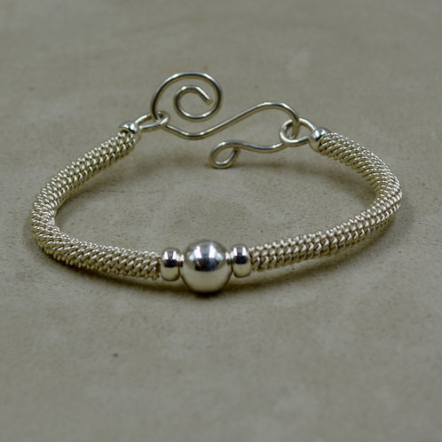 S. Silver & Single Silver Bead Woven Bracelet by Sippican Designs