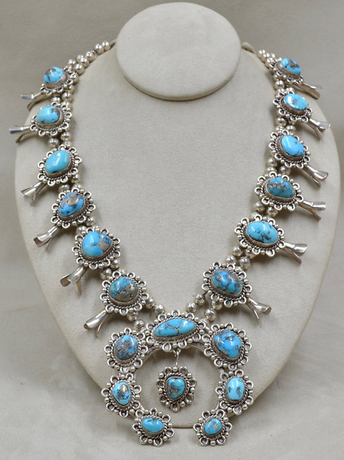 Vintage Sterling Silver Handmade Beads w/ Kingman Turquoise Necklace