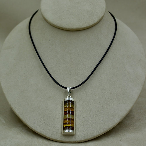 1/2 Round Amber Mosaic & Sterling Silver Long Pendant by MTM Silver