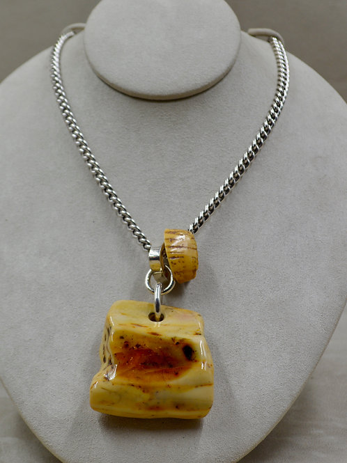 Baltic Butterscotch Amber on Stainless Steel Chain by Melanie DeLuca