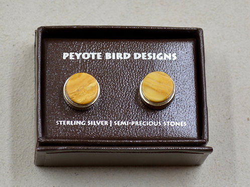 3-D Large Round Yellow Jasper Post Earrings by Peyote Bird Designs