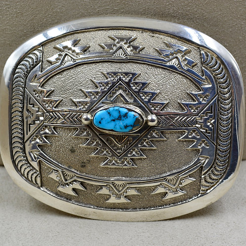 Morenci Turquoise & Sterling Silver Belt Buckle by Jefferson Brown