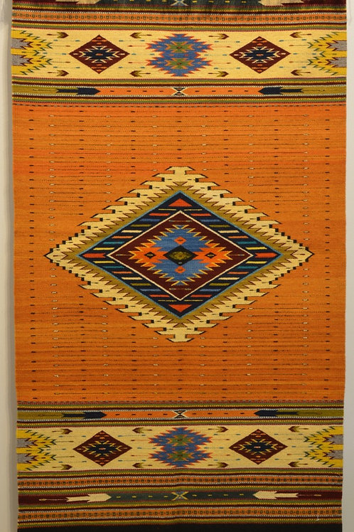 "Fino Center Geometric w/ Fringe Zapotec Weaving - 32"" X 57"""
