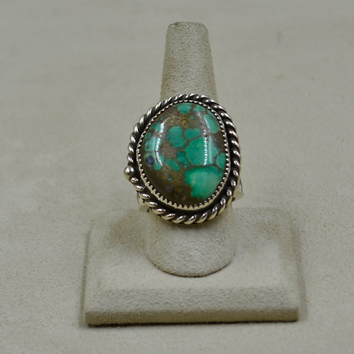 Damele Turquoise & Sterling Silver Rope Bez 11.5x Ring by James Saunders