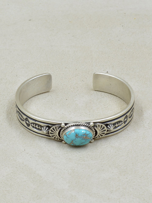 Sterling Silver & Natural Kingman Turquoise Cuff - G Piasso