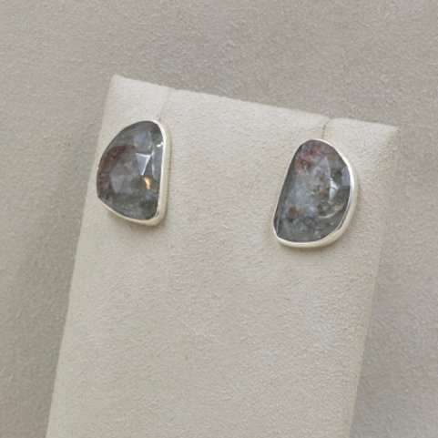 Stainless Silver Aquamarine Earrings by Richard Lindsay