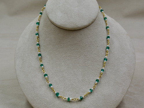 """22k Gold, Emerald, & Pearl 17 1/4"""" Necklace by Pamela Farland"""