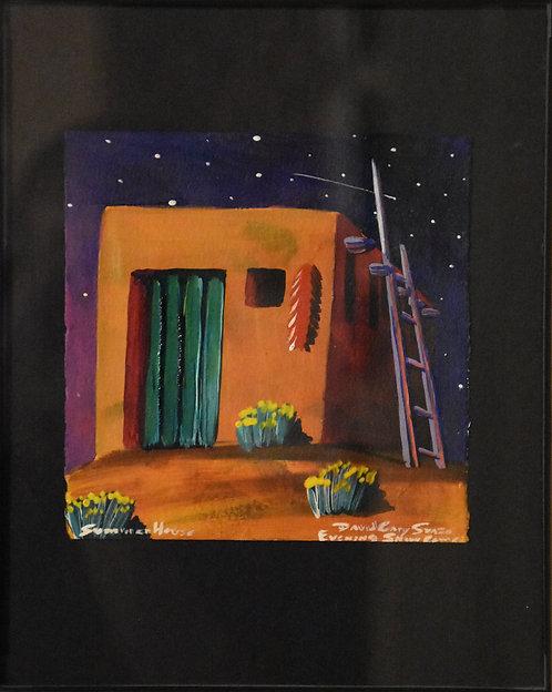 """Summer House"" Framed Acrylic on Handmade Paper by David Gary Suazo"