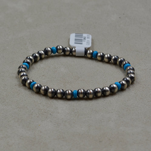 5mm Oxidized Sterling Silver and Turquoise, Stretch Bracelet by Shoofly 505