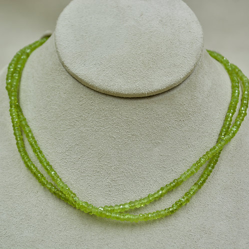 Double Peridot & Sterling Silver Faceted Necklace by Sanchi & Filia