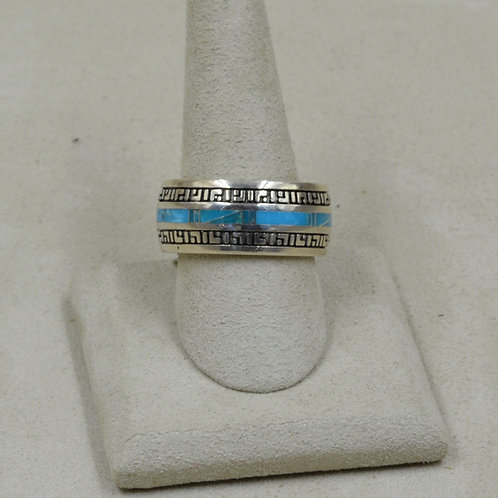 Kingman Turquoise & Sterling Silver 11x Ring by GL Miller Studio