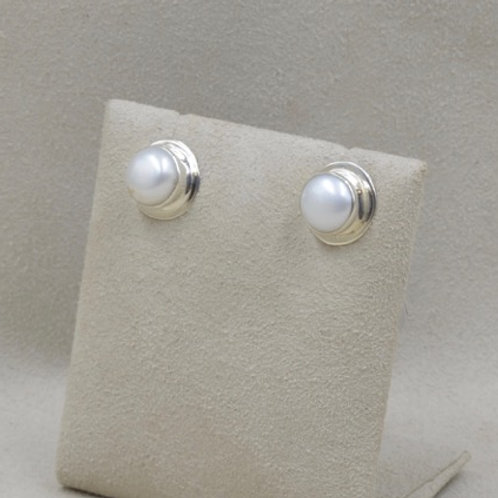 Button Earrings with Fresh Water Pearls by Richard Lindsay