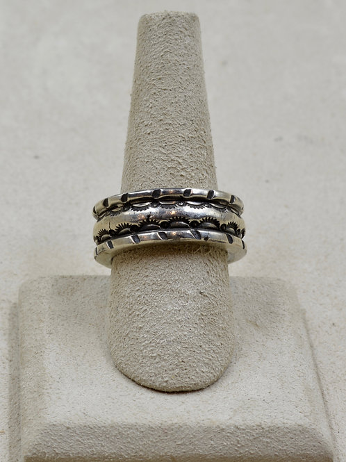 Heavy Sterling Silver Ingot Stamped Band 8.5x Ring by Red Rabbit Trading Co.