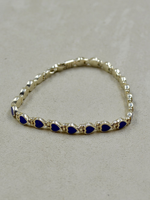 Small Lapis Hearts Tennis Bracelet by Peyote Bird